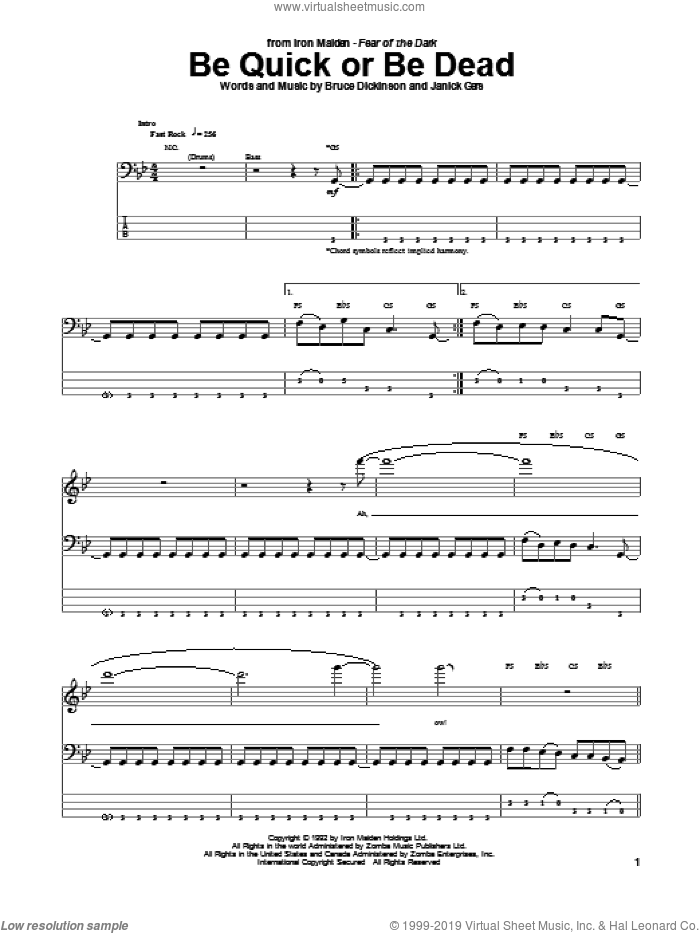 Be Quick Or Be Dead sheet music for bass (tablature) (bass guitar) by Janick Gers