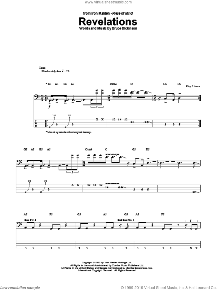 Revelations sheet music for bass (tablature) (bass guitar) by Iron Maiden and Bruce Dickinson, intermediate skill level