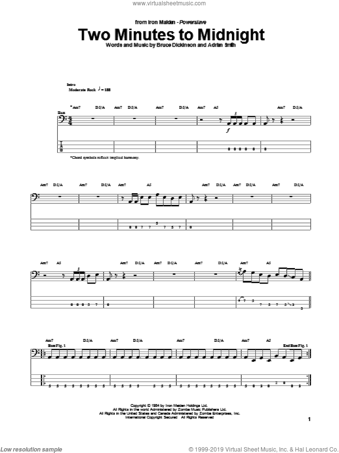 Two Minutes To Midnight sheet music for bass (tablature) (bass guitar) by Bruce Dickinson, Iron Maiden and Adrian Smith. Score Image Preview.