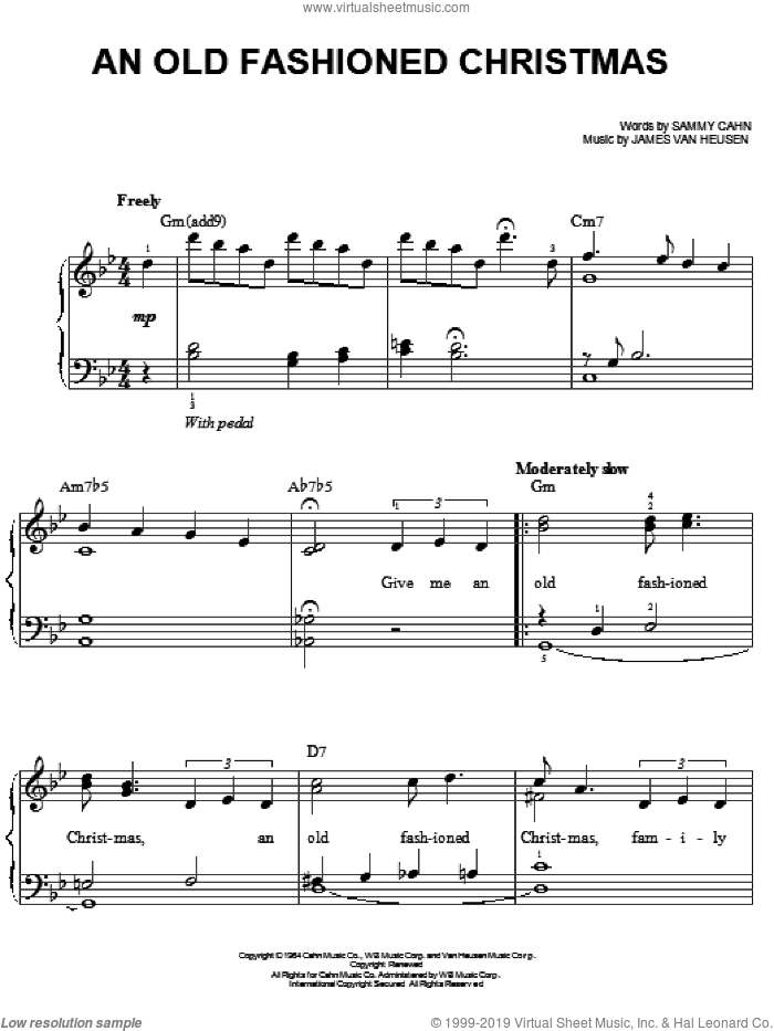 An Old Fashioned Christmas sheet music for piano solo by Frank Sinatra, Jimmy van Heusen and Sammy Cahn, Christmas carol score, easy piano. Score Image Preview.
