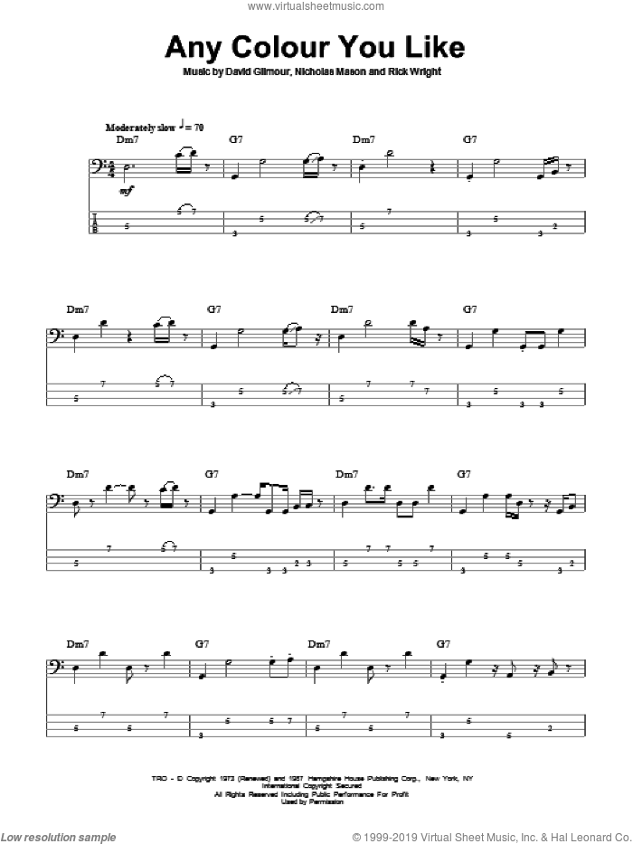 Any Colour You Like sheet music for bass (tablature) (bass guitar) by Pink Floyd, David Gilmour and Richard Wright. Score Image Preview.