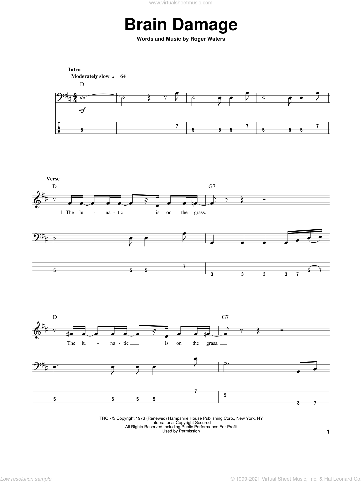 Brain Damage sheet music for bass (tablature) (bass guitar) by Pink Floyd and Roger Waters
