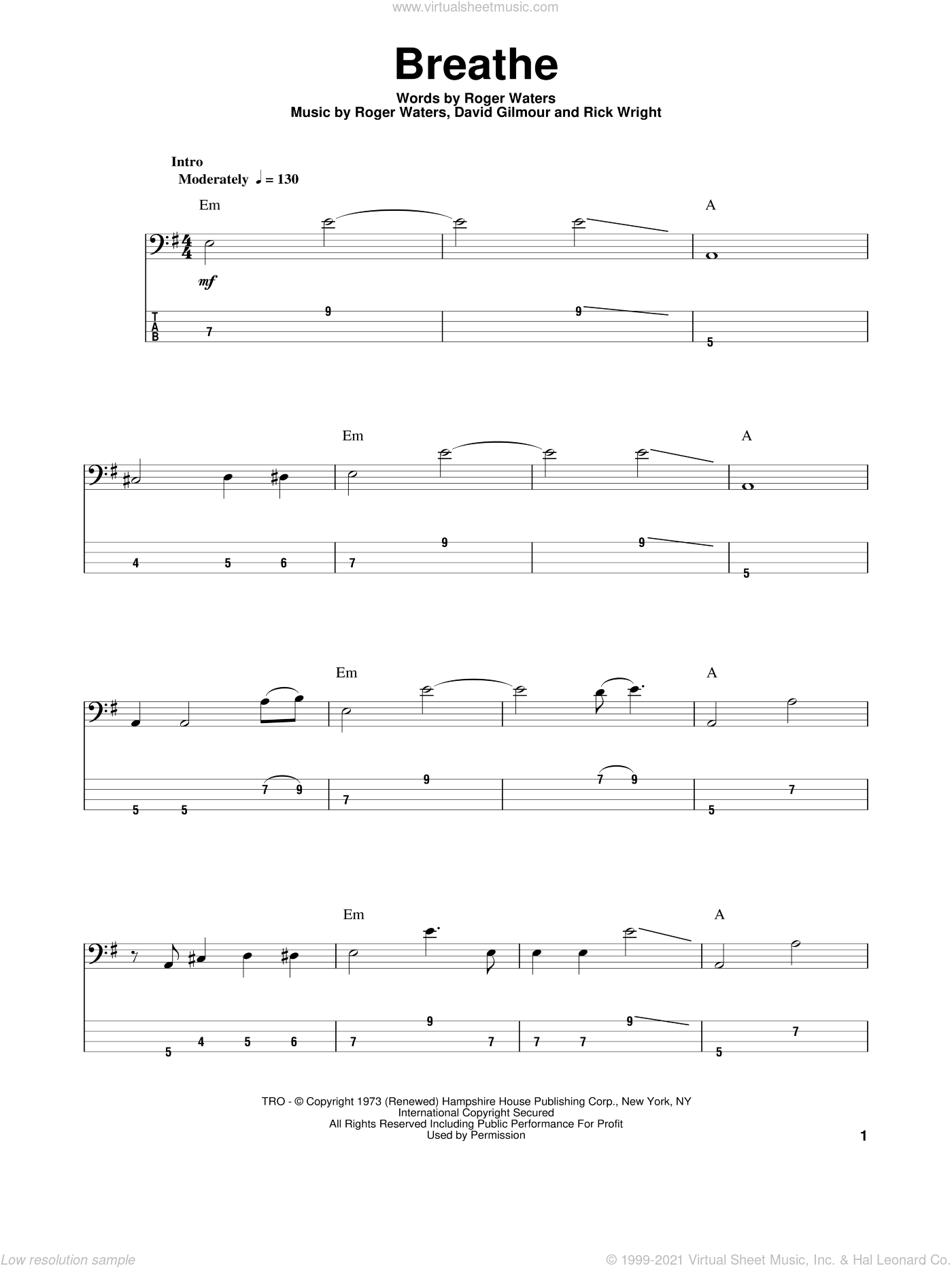 Breathe sheet music for bass (tablature) (bass guitar) by Roger Waters, Pink Floyd, David Gilmour and Richard Wright. Score Image Preview.