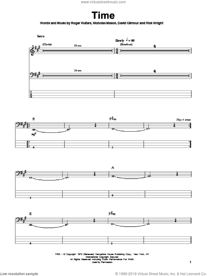 Time sheet music for bass (tablature) (bass guitar) by Roger Waters