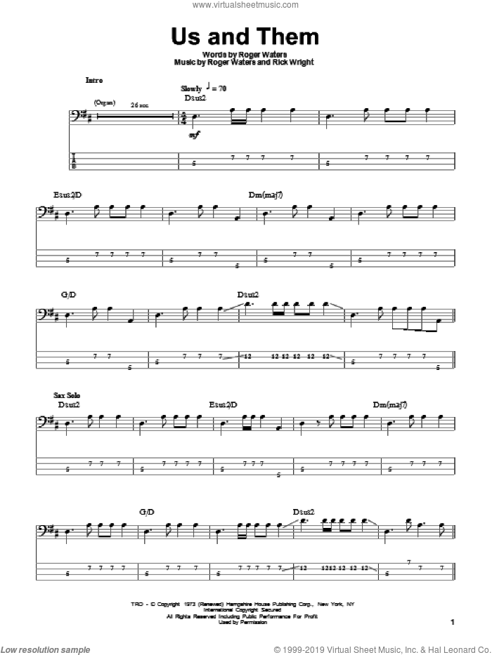 Us And Them sheet music for bass (tablature) (bass guitar) by Pink Floyd, Richard Wright and Roger Waters, intermediate bass (tablature) (bass guitar). Score Image Preview.
