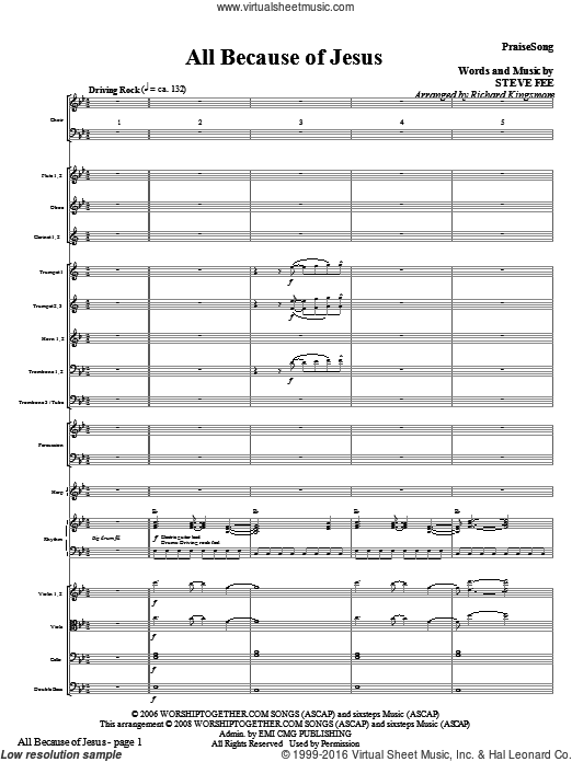 All Because Of Jesus (COMPLETE) sheet music for orchestra by Richard Kingsmore, Steve Fee and Casting Crowns. Score Image Preview.