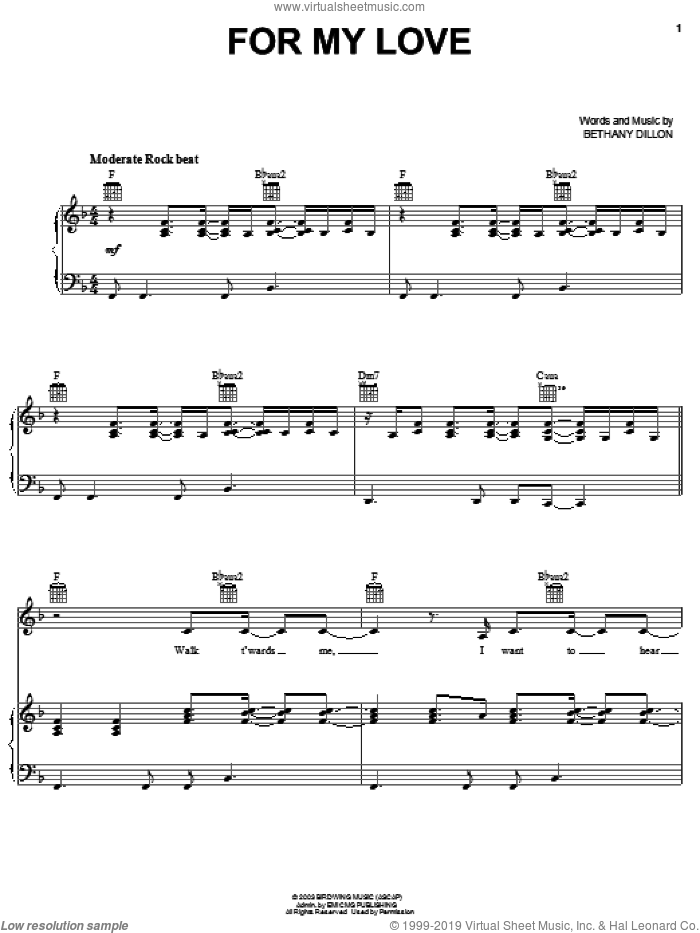 For My Love sheet music for voice, piano or guitar by Bethany Dillon, intermediate. Score Image Preview.