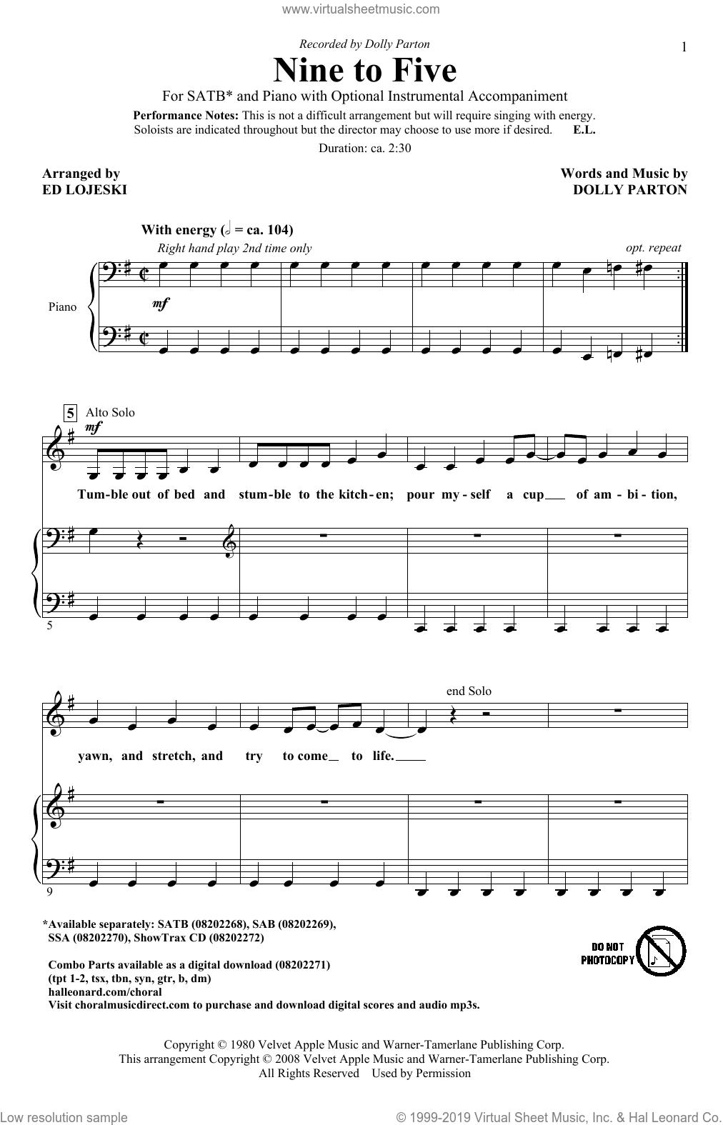 Nine To Five (arr. Ed Lojeski) sheet music for choir (SATB: soprano, alto, tenor, bass) by Dolly Parton and Ed Lojeski, intermediate skill level
