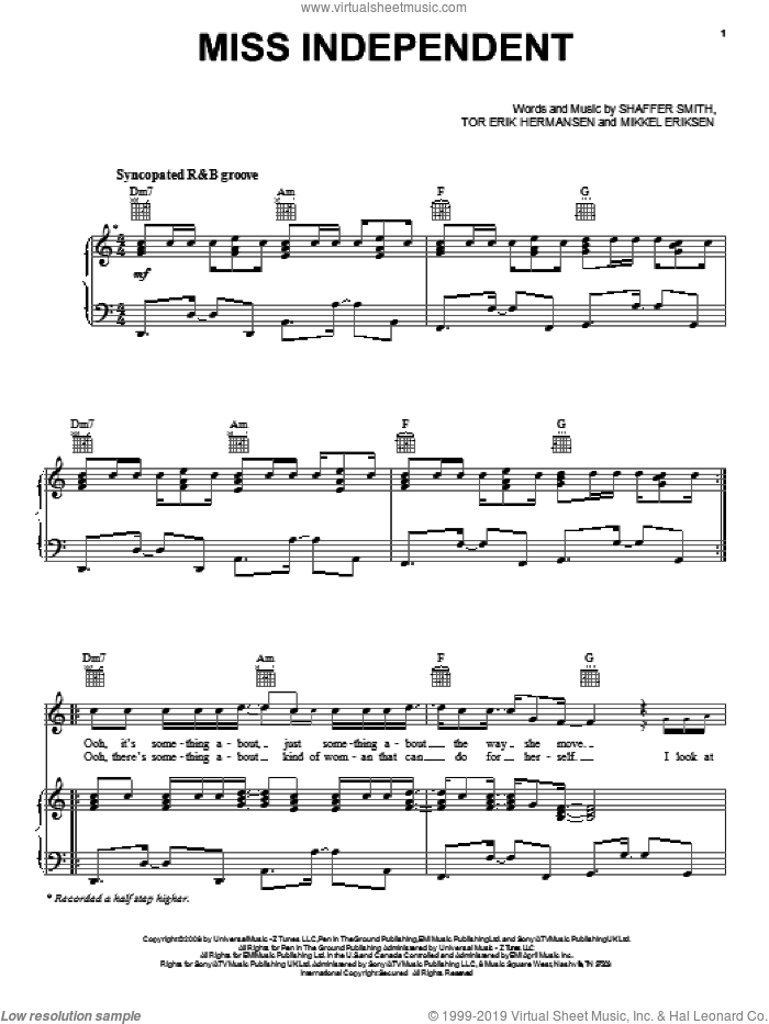 Miss Independent sheet music for voice, piano or guitar by Ne-Yo, Mikkel Eriksen, Shaffer Smith and Tor Erik Hermansen, intermediate voice, piano or guitar. Score Image Preview.