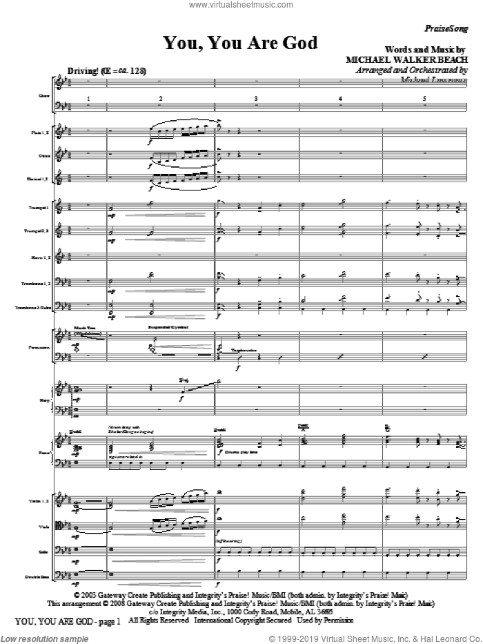 You, You Are God (COMPLETE) sheet music for orchestra/band (Orchestra) by Michael Walker Beach and Michael Lawrence, intermediate skill level