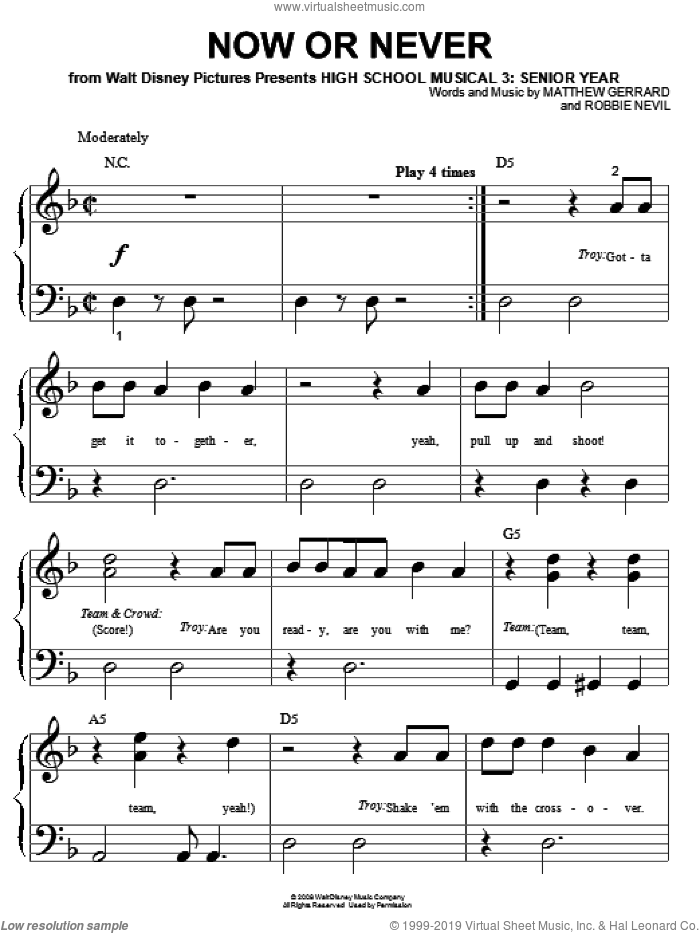 Now Or Never sheet music for piano solo (big note book) by High School Musical 3, Matthew Gerrard and Robbie Nevil, easy piano (big note book). Score Image Preview.