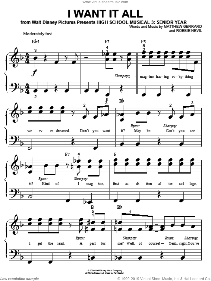 I Want It All sheet music for piano solo (big note book) by High School Musical 3, Matthew Gerrard and Robbie Nevil, easy piano (big note book)