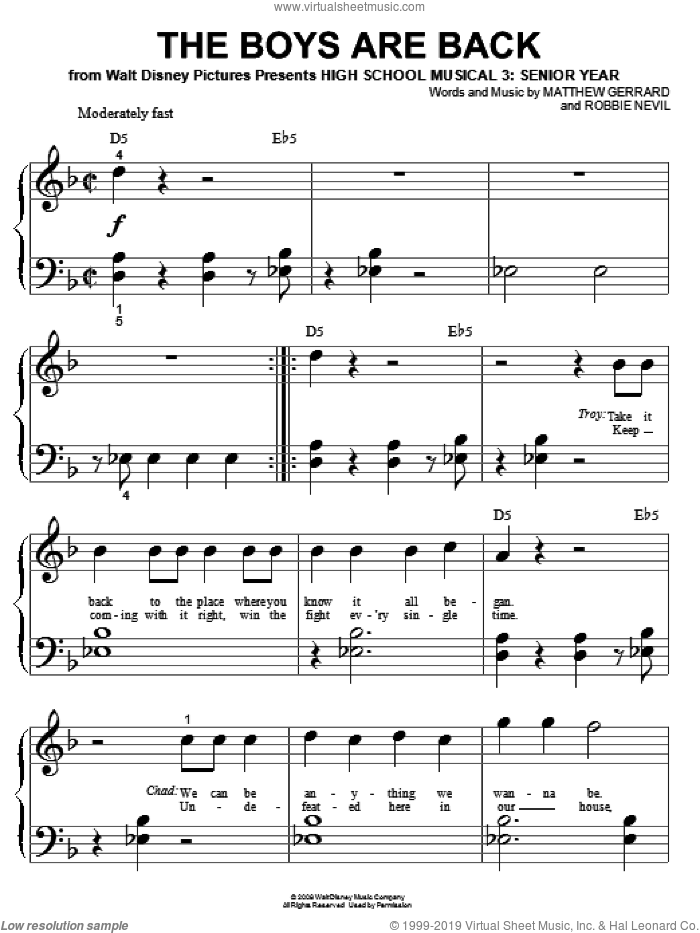 The Boys Are Back sheet music for piano solo (big note book) by High School Musical 3, Matthew Gerrard and Robbie Nevil, easy piano (big note book)