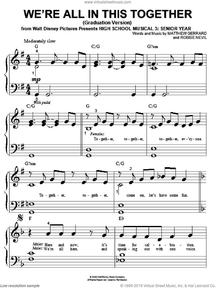 We're All In This Together (Graduation Version) sheet music for piano solo (big note book) by High School Musical 3, Matthew Gerrard and Robbie Nevil, easy piano (big note book)