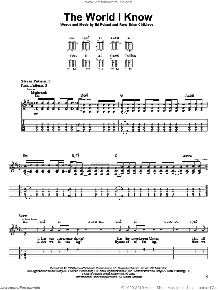 The World I Know sheet music for guitar solo (easy tablature) by Ross Childress, Collective Soul and Ed Roland. Score Image Preview.