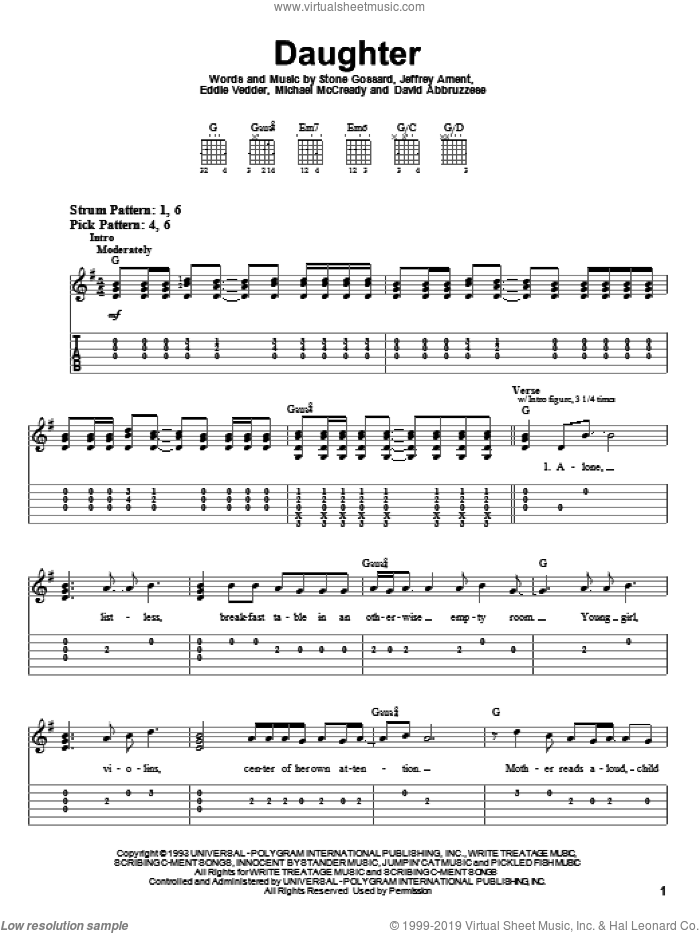 Daughter sheet music for guitar solo (easy tablature) by Pearl Jam, David Abbruzzese, Eddie Vedder, Jeffrey Ament, Michael McCready and Stone Gossard, easy guitar (easy tablature)