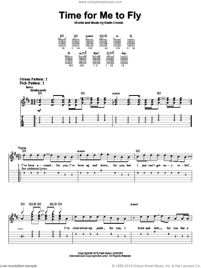 Time For Me To Fly sheet music for guitar solo (easy tablature) by REO Speedwagon and Kevin Cronin, easy guitar (easy tablature)