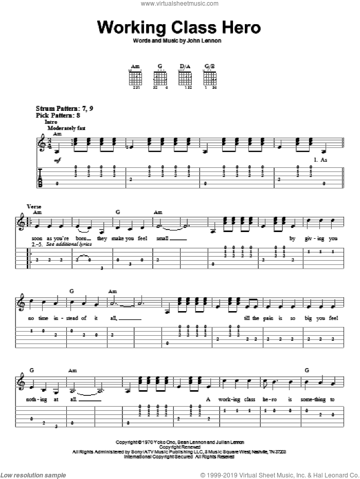 Working Class Hero sheet music for guitar solo (easy tablature) by John Lennon. Score Image Preview.