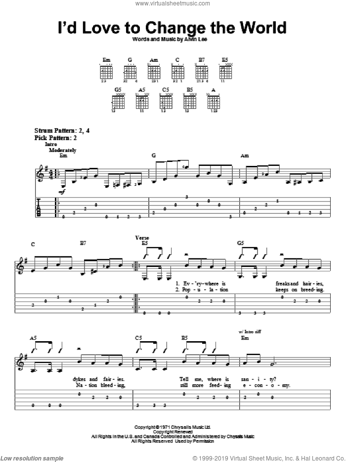 I'd Love To Change The World sheet music for guitar solo (easy tablature) by Ten Years After and Alvin Lee. Score Image Preview.