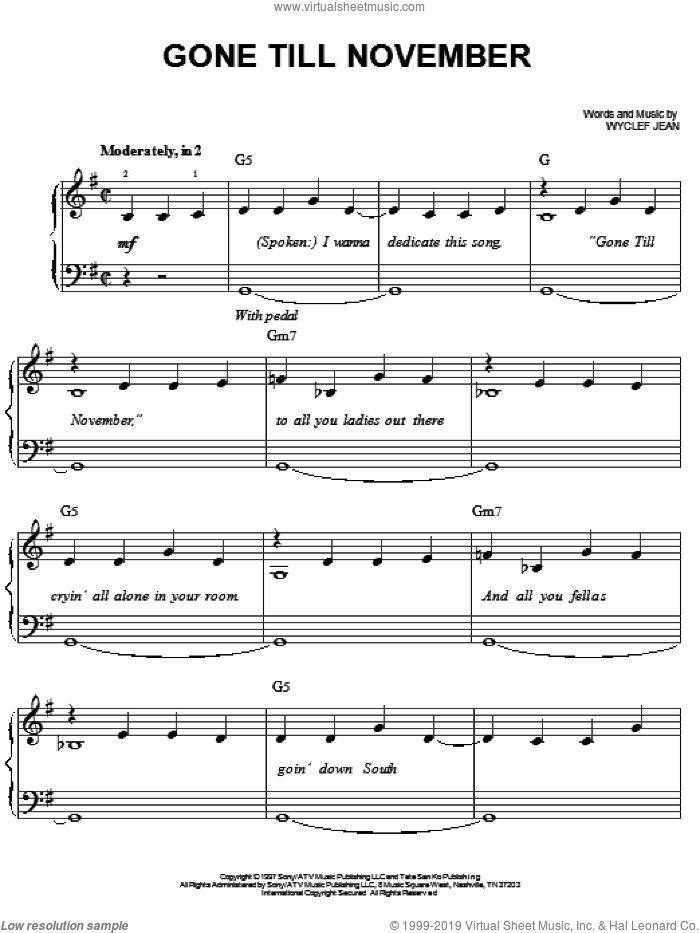 Gone Till November sheet music for piano solo by Wyclef Jean, easy skill level