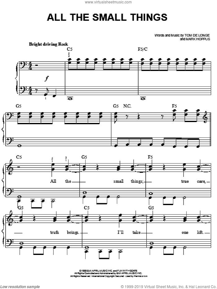 All The Small Things sheet music for piano solo by Blink-182, Mark Hoppus and Tom DeLonge, easy. Score Image Preview.