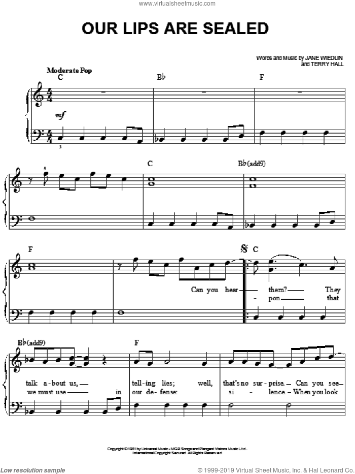 Our Lips Are Sealed sheet music for piano solo by The Go-Go's, Jane Wiedlin and Terry Hall, easy skill level