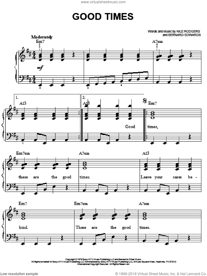 Good Times sheet music for piano solo by Chic, Bernard Edwards and Nile Rodgers, easy skill level