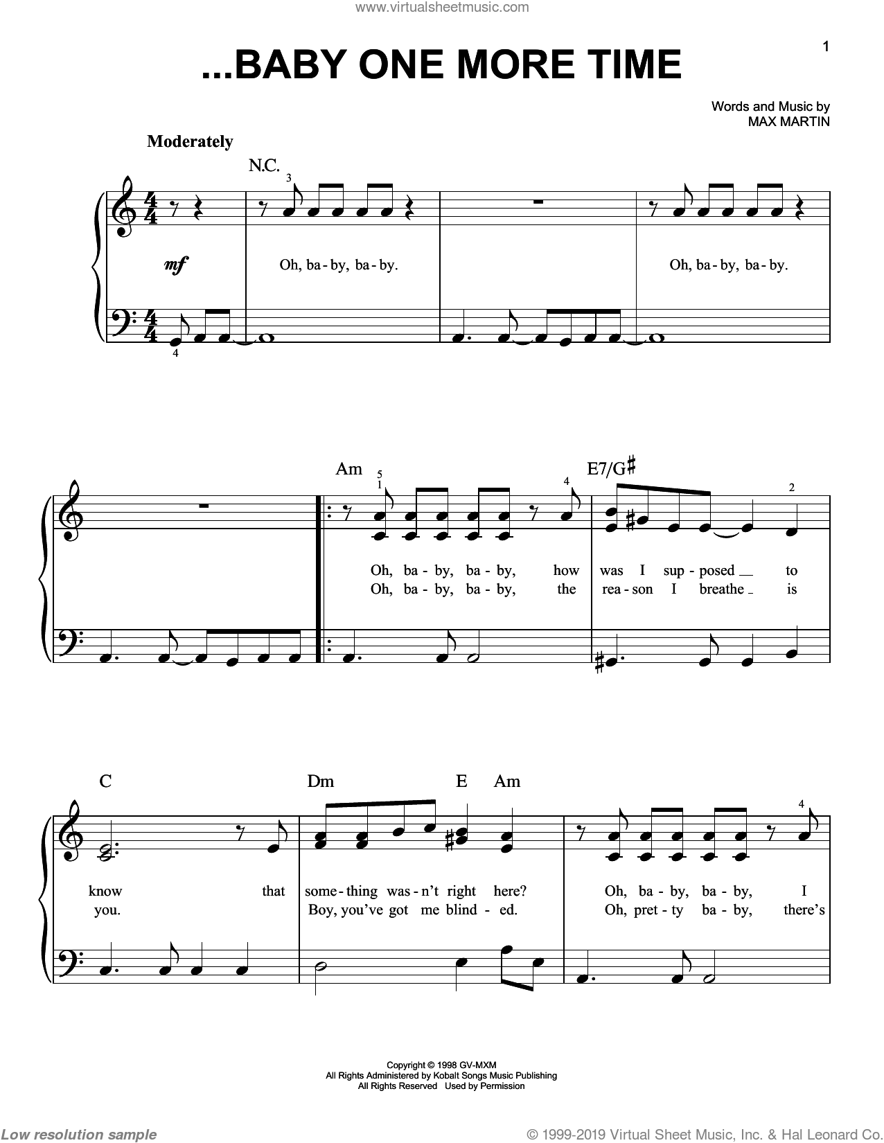 ...Baby One More Time sheet music for piano solo by Britney Spears and Max Martin, easy skill level