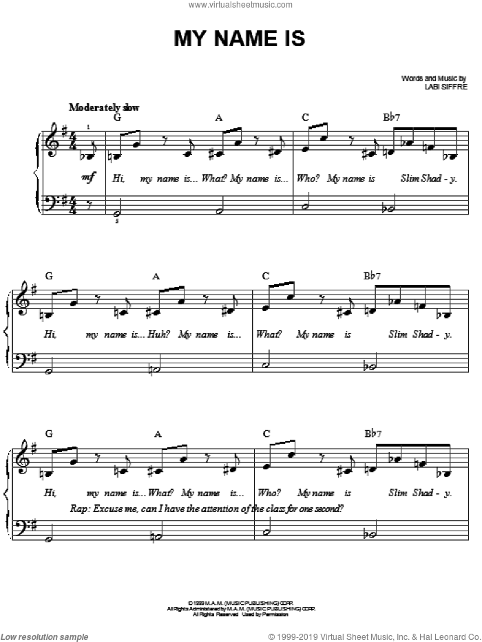 My Name Is sheet music for piano solo by Eminem and Labi Siffre, easy skill level