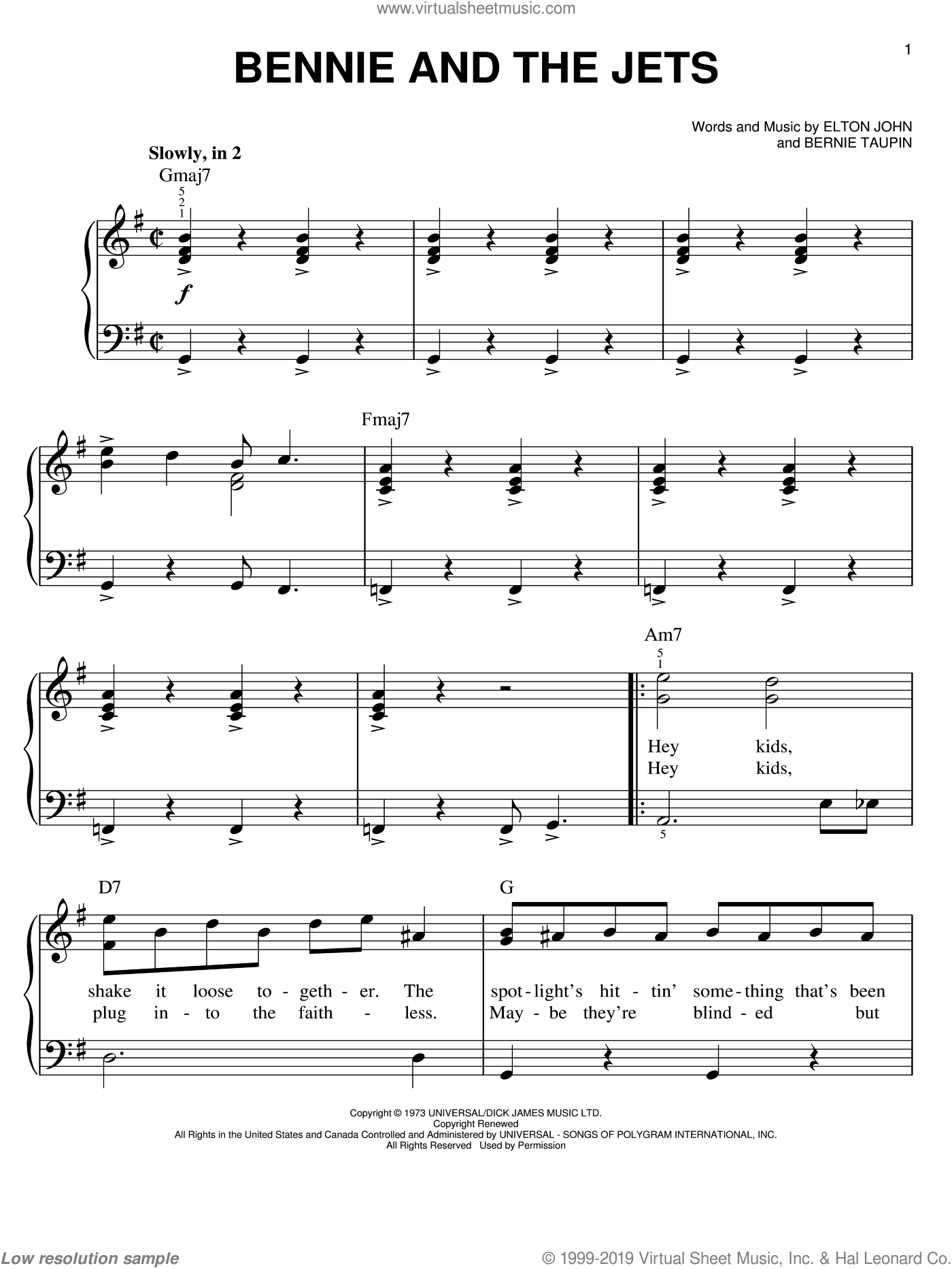 Bennie And The Jets, (easy) sheet music for piano solo by Elton John and Bernie Taupin, easy skill level