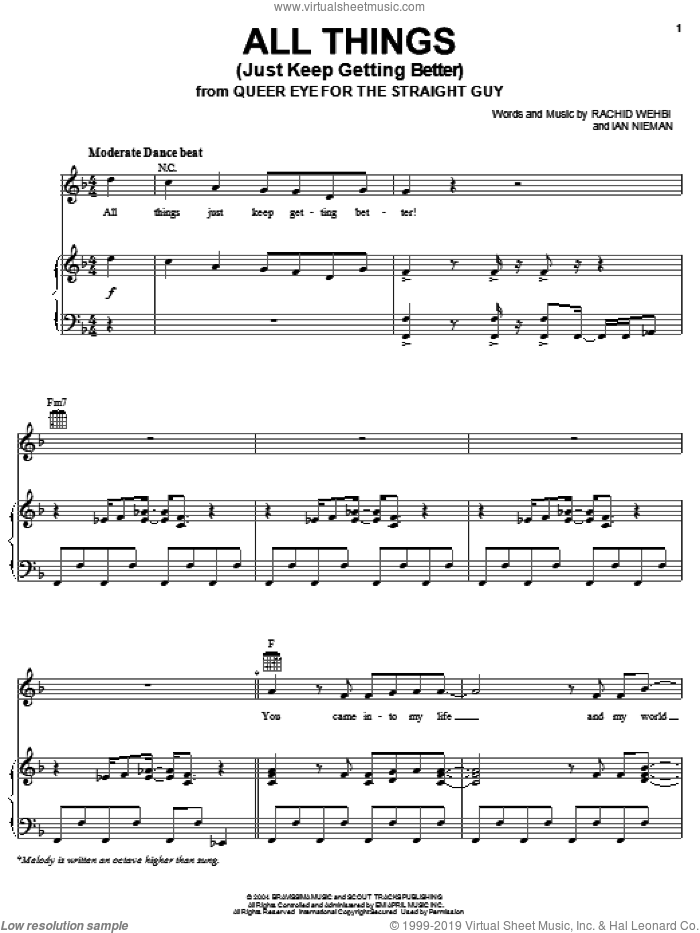 All Things (Just Keep Getting Better) sheet music for voice, piano or guitar by Widelife, Ian Nieman and Rachid Wehbi, intermediate skill level