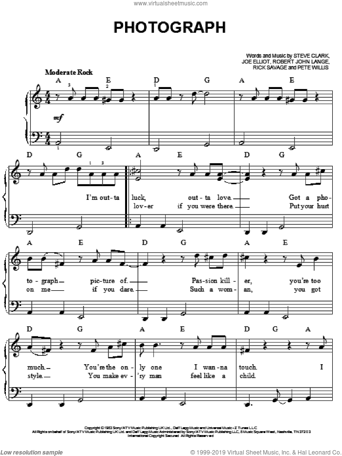 Photograph sheet music for piano solo by Def Leppard, Joe Elliott, Peter Willis, Richard Allen, Richard Savage, Robert John Lange and Steve Clark, easy skill level