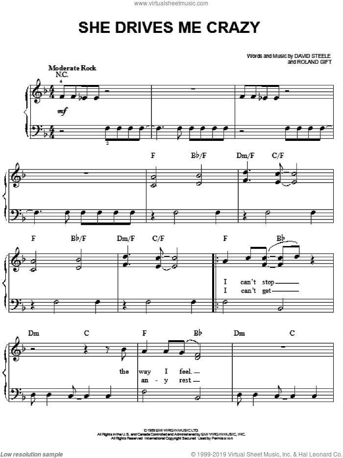 She Drives Me Crazy sheet music for piano solo by Fine Young Cannibals, David Steele and Roland Gift, easy skill level