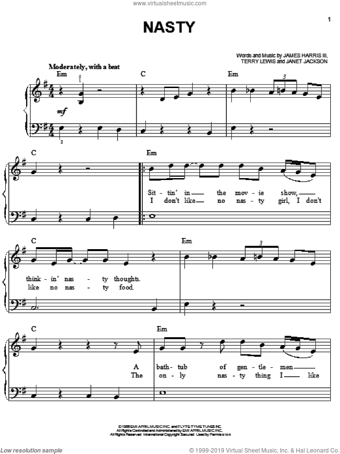 Nasty sheet music for piano solo by Janet Jackson, James Harris and Terry Lewis, easy skill level