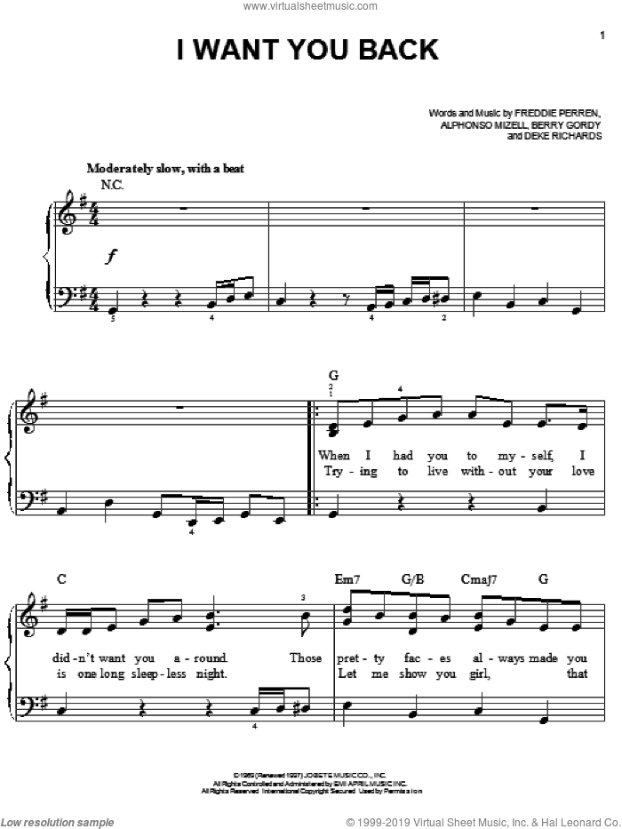 I Want You Back sheet music for piano solo by The Jackson 5, Michael Jackson, Alphonso Mizell, Berry Gordy, Deke Richards and Frederick Perren, easy skill level