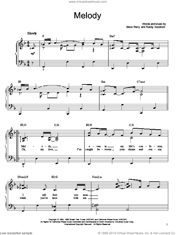 Melody sheet music for piano solo by Randy Goodrum and Steve Perry. Score Image Preview.