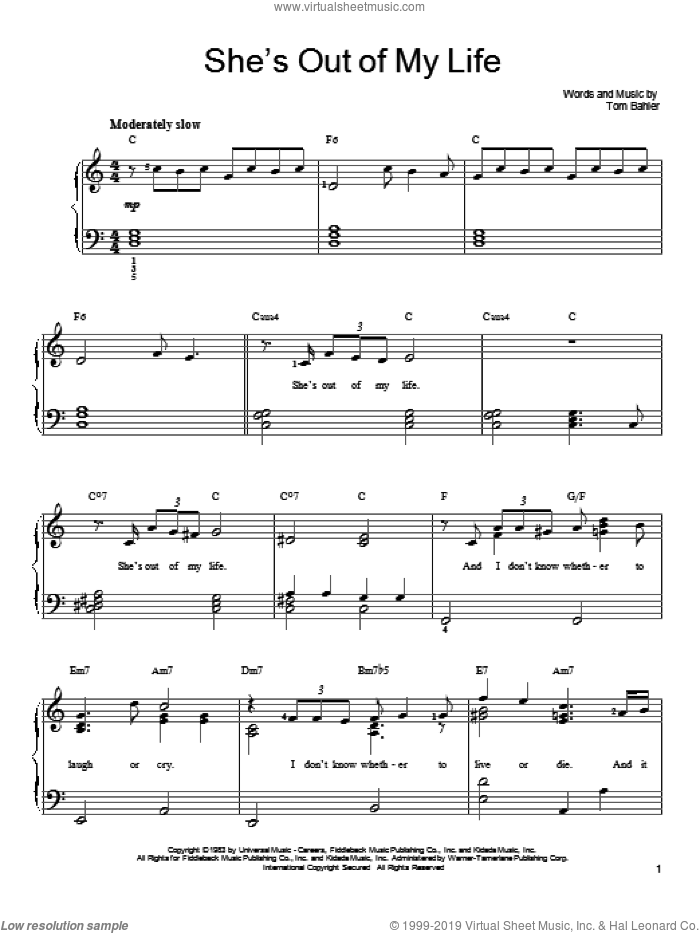 She's Out Of My Life sheet music for piano solo by 98 Degrees and Tom Bahler, easy piano. Score Image Preview.