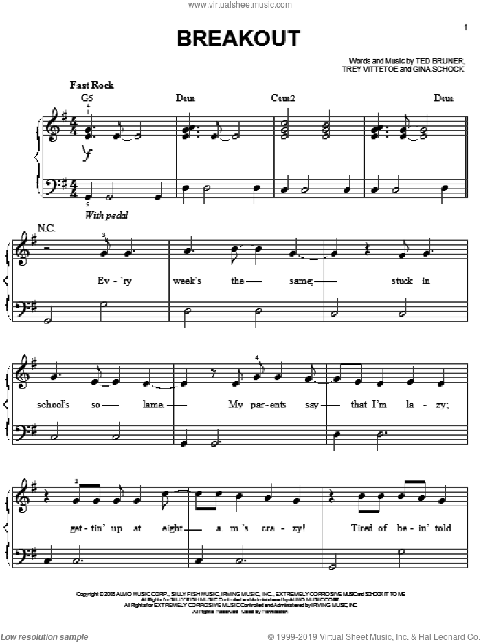 Breakout sheet music for piano solo by Miley Cyrus, Gina Schock, Ted Bruner and Trey Vittetoe, easy skill level