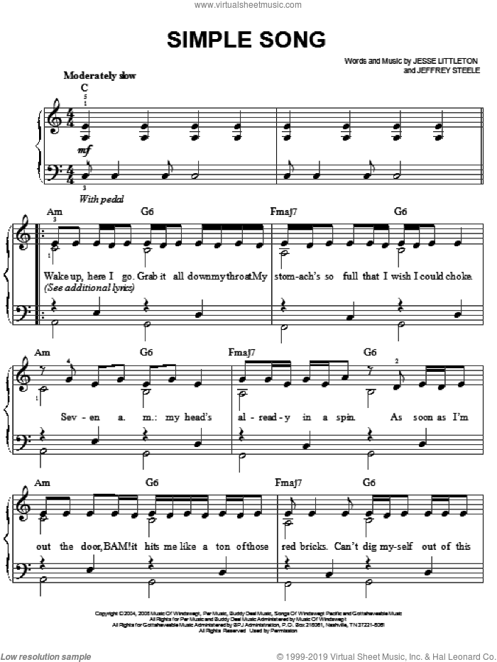 Simple Song sheet music for piano solo by Jesse Littleton, Miley Cyrus and Jeffrey Steele. Score Image Preview.