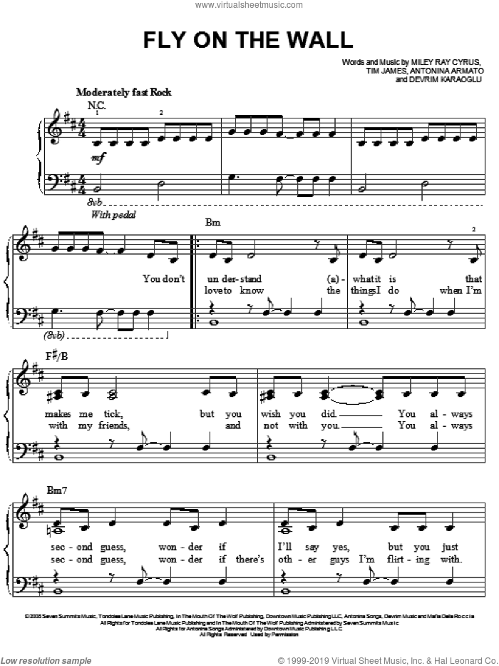 Fly On The Wall sheet music for piano solo by Miley Cyrus, Antonina Armato, Devrim Karaoglu, Miley Ray Cyrus and Tim James, easy skill level
