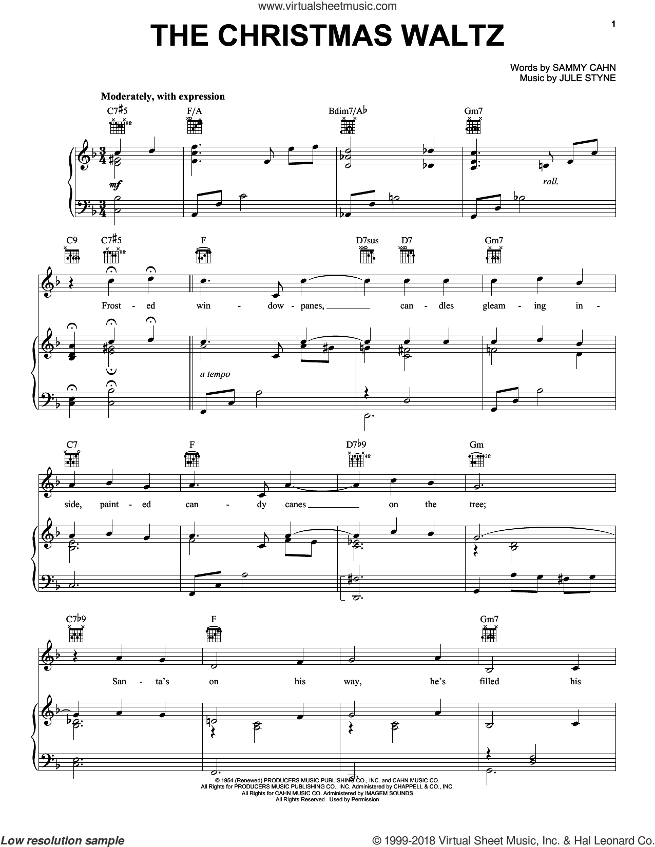 The Christmas Waltz sheet music for voice, piano or guitar by Frank Sinatra, Jule Styne and Sammy Cahn, intermediate skill level