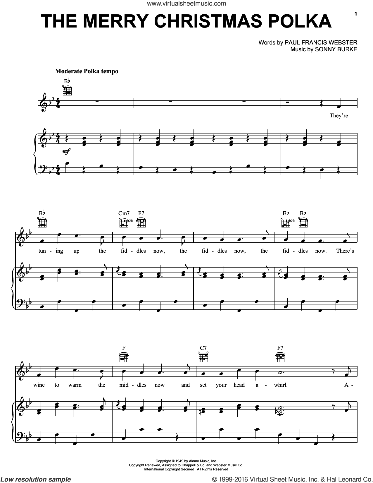 The Merry Christmas Polka sheet music for voice, piano or guitar by Sonny Burke and Paul Francis Webster. Score Image Preview.