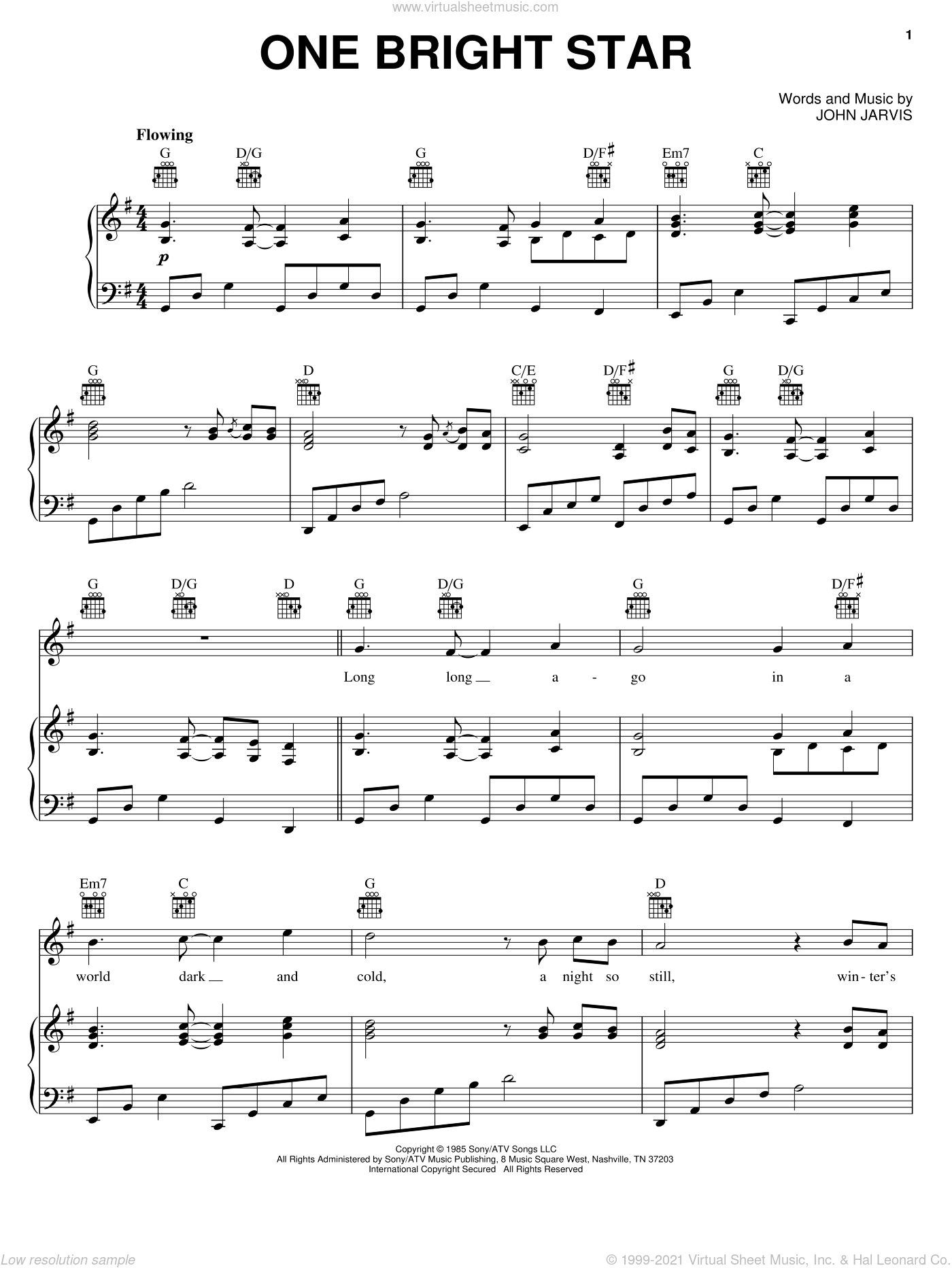 One Bright Star sheet music for voice, piano or guitar by John Jarvis, intermediate skill level