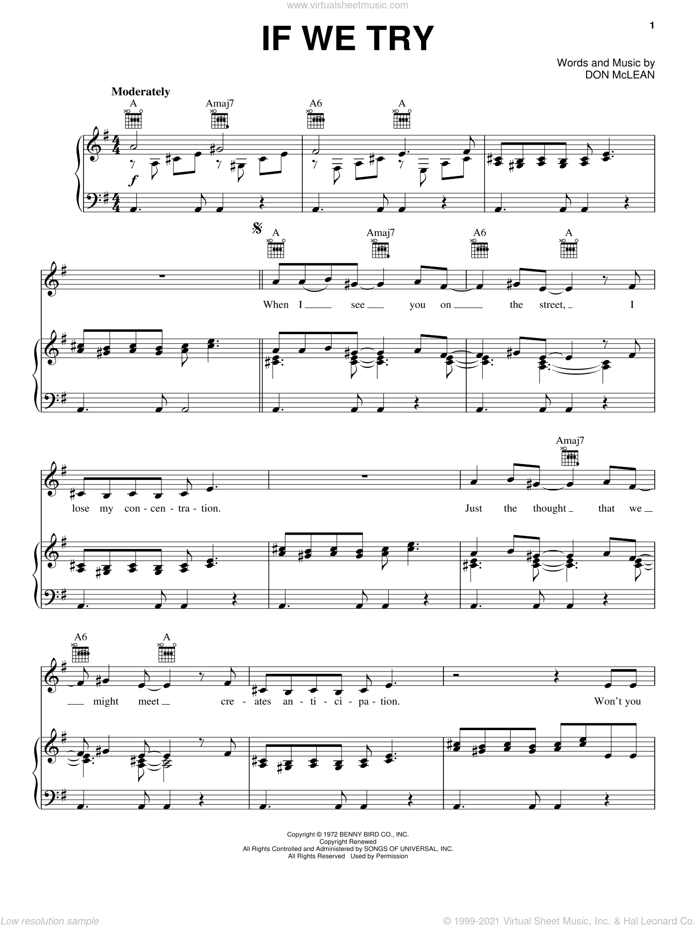 If We Try sheet music for voice, piano or guitar by Don McLean, intermediate voice, piano or guitar. Score Image Preview.