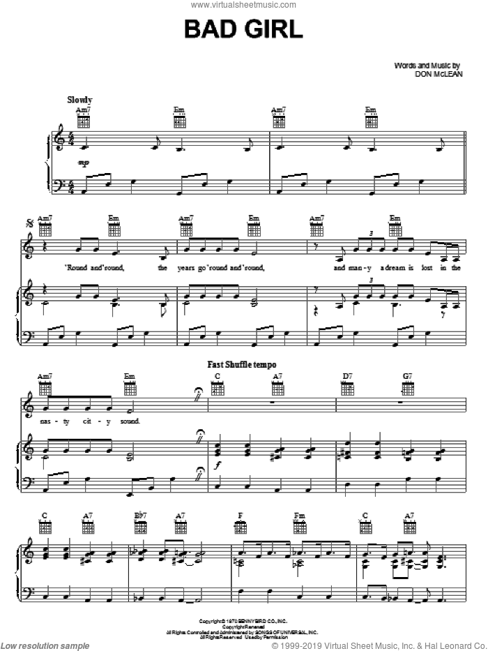 Bad Girl sheet music for voice, piano or guitar by Don McLean. Score Image Preview.