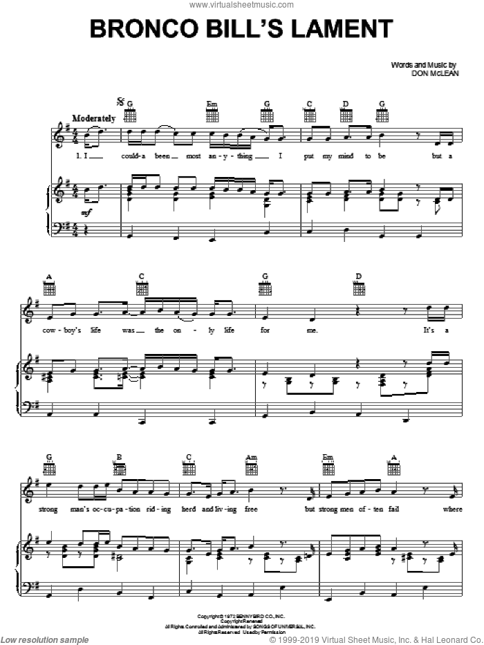 Bronco Bill's Lament sheet music for voice, piano or guitar by Don McLean. Score Image Preview.