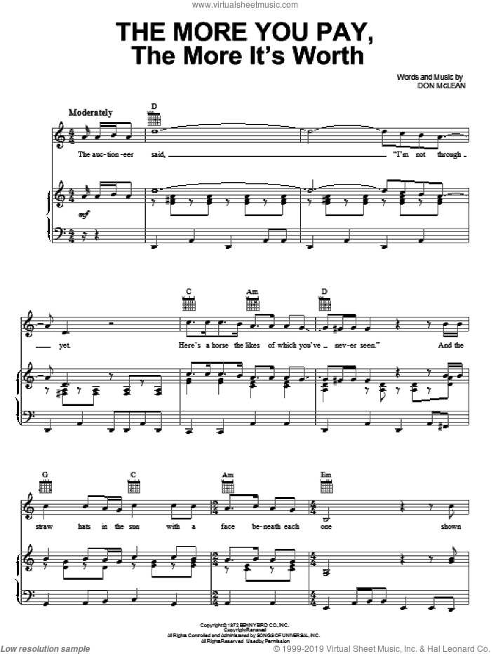 The More You Pay, The More It's Worth sheet music for voice, piano or guitar by Don McLean, intermediate skill level