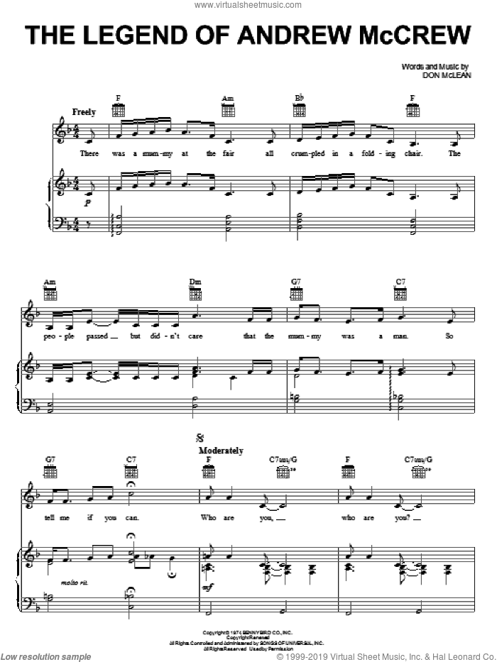 The Legend Of Andrew McCrew sheet music for voice, piano or guitar by Don McLean. Score Image Preview.