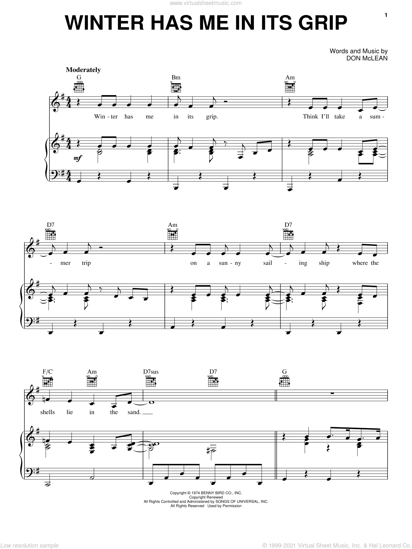 Winter Has Me In Its Grip sheet music for voice, piano or guitar by Don McLean. Score Image Preview.