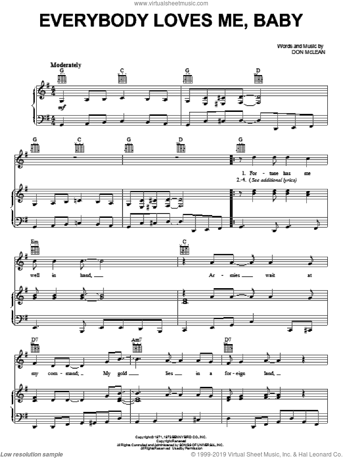 Everybody Loves Me, Baby sheet music for voice, piano or guitar by Don McLean. Score Image Preview.